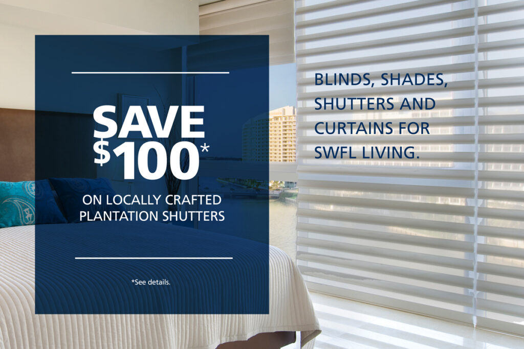 Save $100* on locally crafted plantation shutters